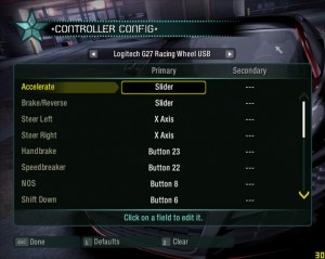 NFS Carbon Control Screen