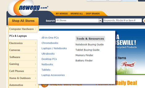 newegg flyout menu